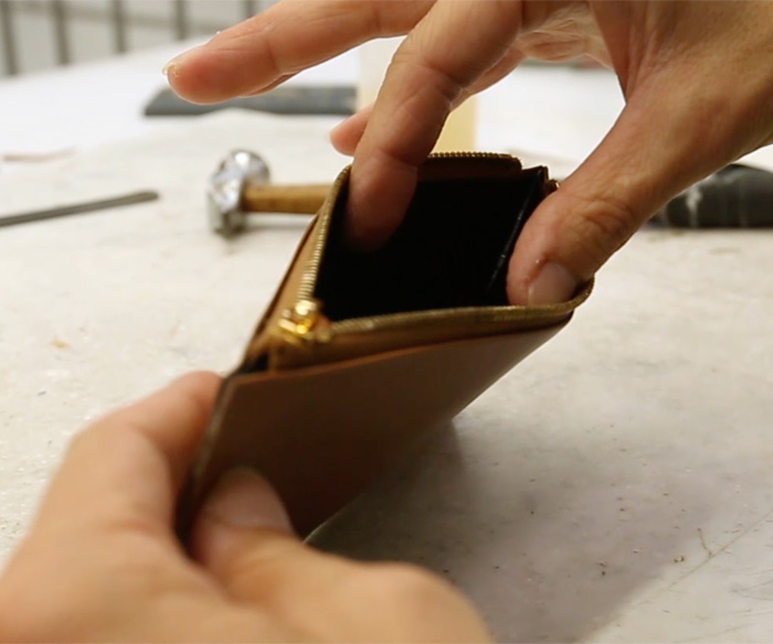 Leather wallet production -a detail